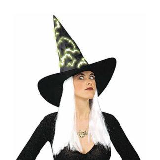 Cappello strega con capelli e pipistrelli fosforescenti