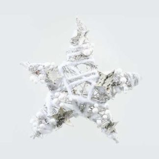 Decoro stella rattan bianca cm 30