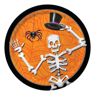 Piatti Halloween con scheletro 8 pezzi