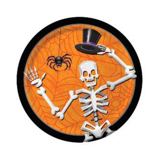 Piattini di Halloween con scheletro 8 pezzi