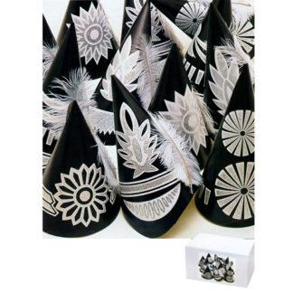 Cappelli neri glitterati con piuma conf. 50 pezzi
