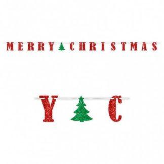 Festone Merry Christmas glitterato mt 3,65