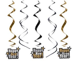 Decoro Spirali Happy New Year cm 60 set 5 pezzi