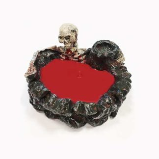 Candela teschio con cera rossa cm. 12