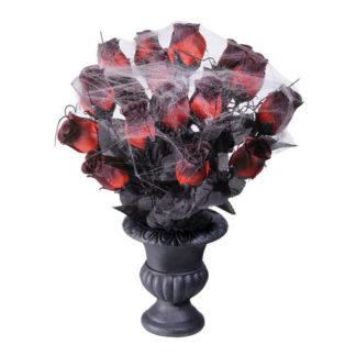 Vaso nero con rose e ragnatele
