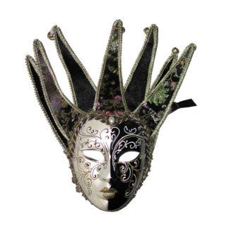 Maschera stile veneziano bianca e nera