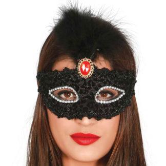Maschera Veneziana nera con piume