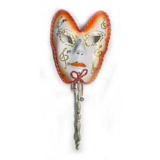 Maschera Carnevale arancio con bastoncino