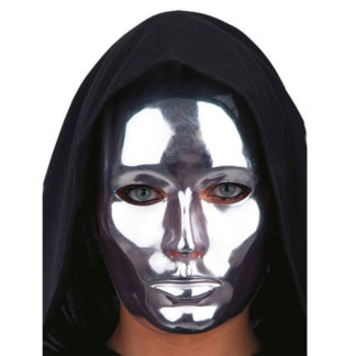 Maschera metallizzata viso intero argento