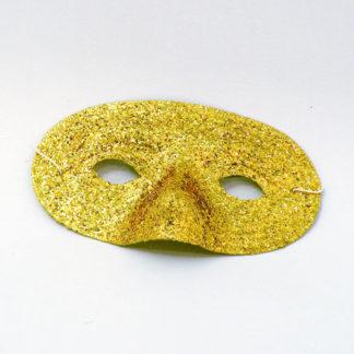Maschera domino pvc glitter oro