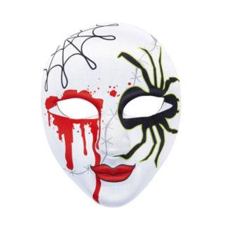 Maschera in tessuto insanguinata con ragno