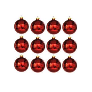Palline natalizie rosse mm 40 set 12 pezzi