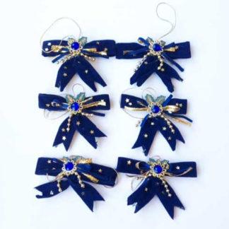 Set 6 fiocchi blu oro velluto cm. 8,5