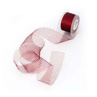 Nastro rete metallizzato rosso mt 10
