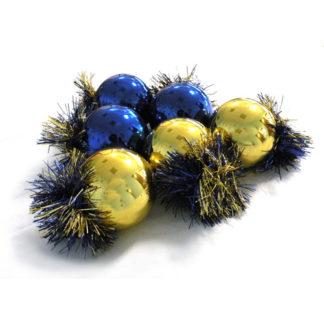 Palline Blu e Oro set 6 pezzi mm. 70