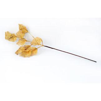 Ramo dorato con foglie glitterate cm 75