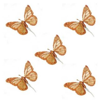 Farfalle glitterate rame set 5 pezzi cm 10