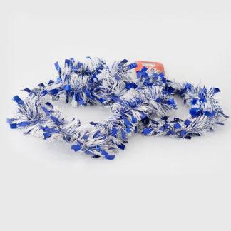 Frangia natalizia bianca con fili blu mt. 2