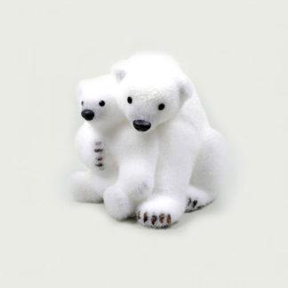 Orso polare con cucciolo cm 25