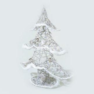 Alberino di Natale in rattan innevato cm 40