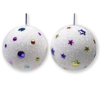 Pallina di Natale innevata con perline colorate mm 150