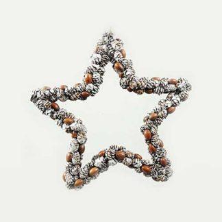 Decoro stella con pigne e ghiande cm 30