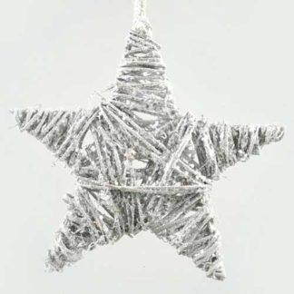 Decoro stella rattan glitterata argento cm 50