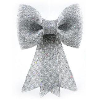 Fiocco juta argento con glitter Maxi cm 42