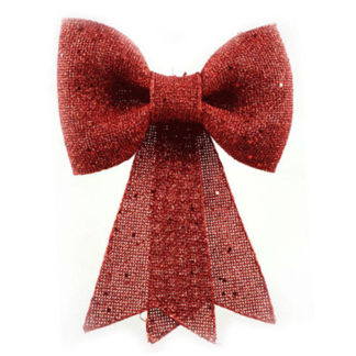 Fiocco juta rosso con glitter cm 30