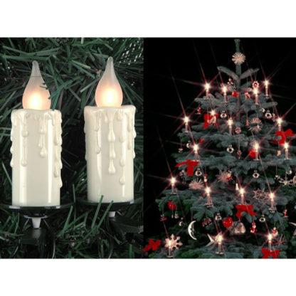Candele maxi 16 luci led con clip per albero di natale mt 6
