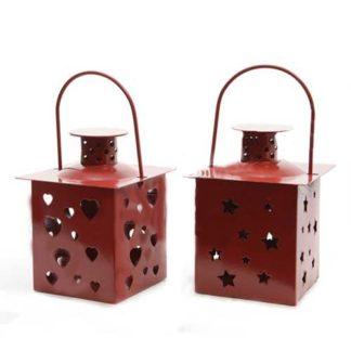 Lanterna Portacandele Rossa in metallo cm 11