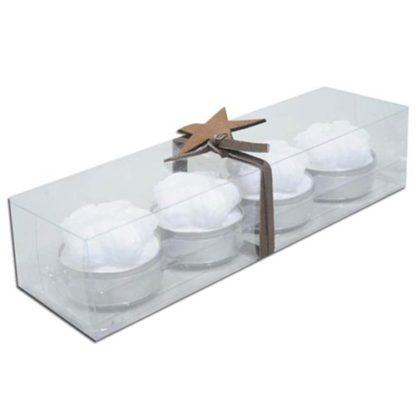Candeline gomitolo bianche set 4 pezzi