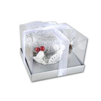 Portacandela in vetro con bacche e pigne cm 12