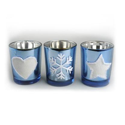 Bicchierini portacandele vetro azzurro set 3 pezzi