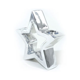 Centrotavola Stella Argento in porcellana cm 19,5