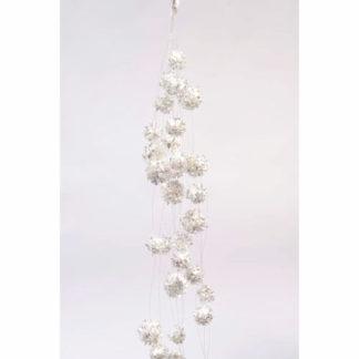 Ghirlanda palline di neve glitterate argento cm 78