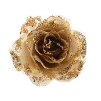 Rosa glitterata oro con clip
