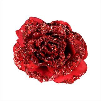 Rosa glitterata rossa con clip