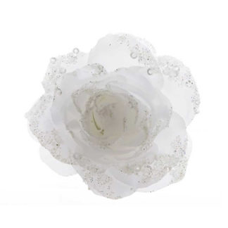 Rosa glitterata bianca con clip
