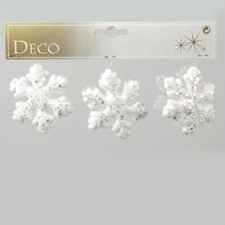 Fiocco di neve glitterato set 3 pezzi cm 7,5