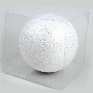 Pallina di Natale bianca glitterata mm. 200