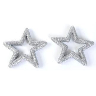 Stelle glitterate argento cm 10 set 2 pezzi