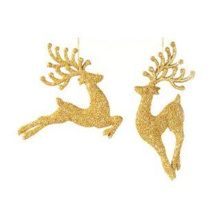 Cervo glitterato oro set 2 pezzi cm 18