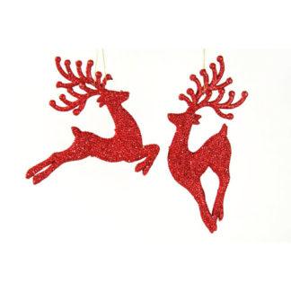Cervo glitterato rosso set 2 pezzi cm 18