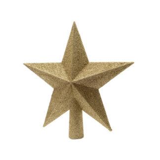 Puntale stella glitterata oro cm 19