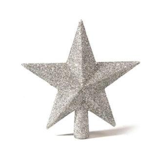 Puntale stella glitterata argento cm 19