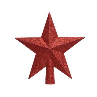 Puntale stella glitterata rossa cm 19