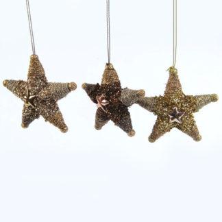 Stelle perlate bronzo e oro set 3 pezzi cm. 10,5