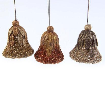 Campane perlate bronzo e oro set 3 pezzi cm 8