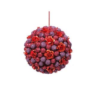 Pallina glitterata rossa con rose mm. 80